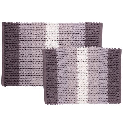 Luxury Ultra Plush Ombre-Stripe 2-Piece Bath Rug Set Color: Gray