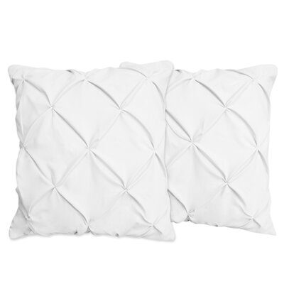 Hudson Pinch Pleat Pintuck Throw Pillow Color: White