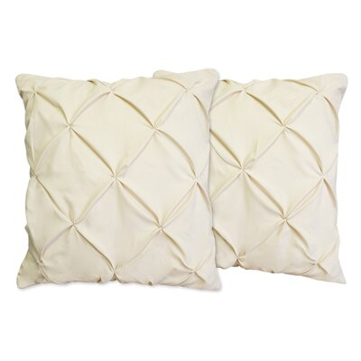 Hudson Pinch Pleat Pintuck Throw Pillow Color: Cream