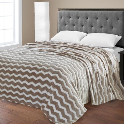 Super Plush Chevron Jacquard Blanket Color: Beige, Size: Queen