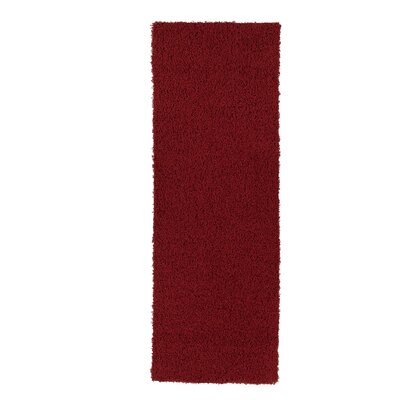 Yarborough Solid Design Contemporary Shag Red Area Rug