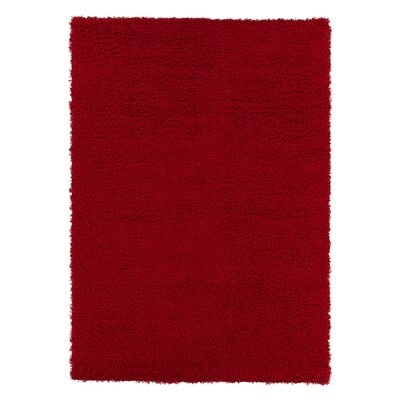Christiane Plush Shaggy Red Area Rug