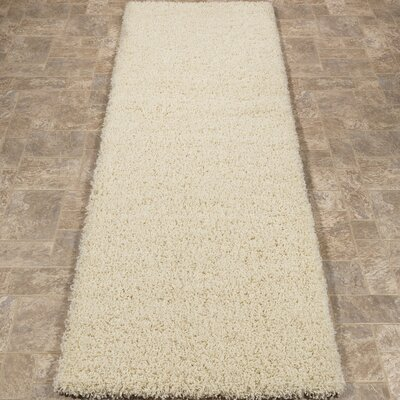 Cevallos Ultimate Solid Design Contemporary Shag Cream Area Rug