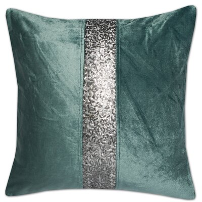 Luxury Zippered Sequin Stripe Pillow Cover Color: Teal