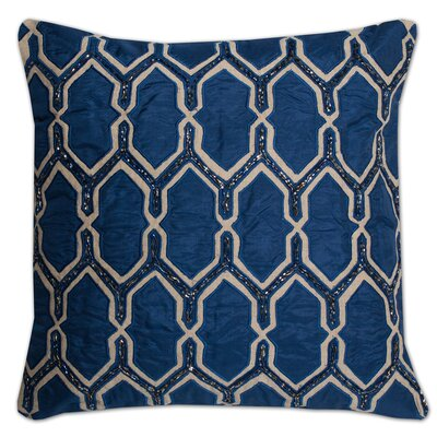 Luxury Zippered Beaded Pillow Cover Color: Navy