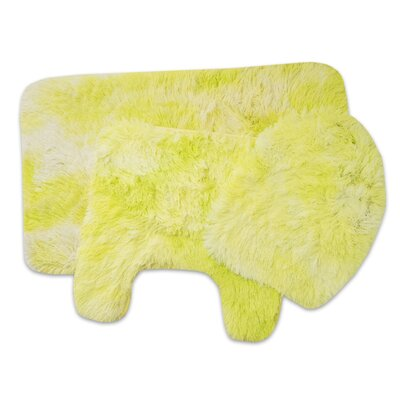 Dennison 3 Piece Bathroom Rug Set Color: Lime