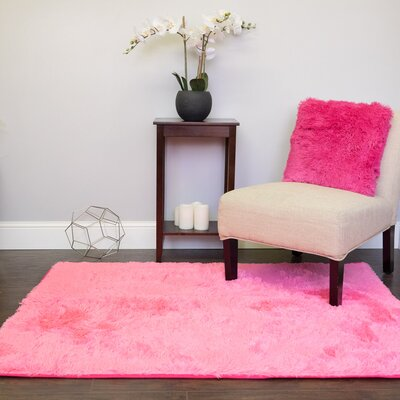 Hutton Plush Faux Fur Pink Area Rug