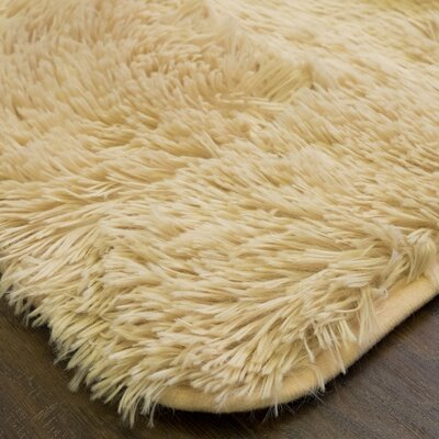 Hutton Plush Faux Fur Taupe Area Rug