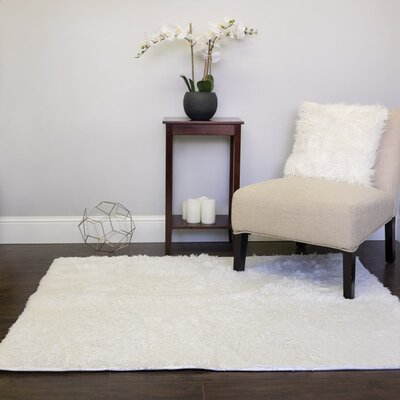 Hutton Plush Faux Fur White Area Rug