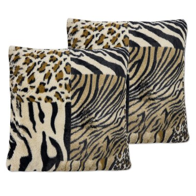 Erik Mixed Exotic Animal Plush Throw Pillow