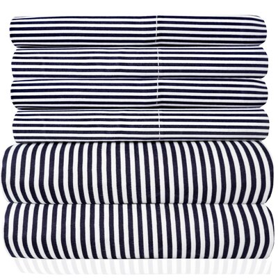 Pavot  Microfiber Quality Classic Stripe Sheet Set Size: Queen, Color: Navy