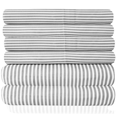 Pavot  Microfiber Quality Classic Stripe Sheet Set Size: King, Color: Gray