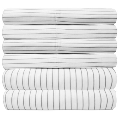 Pavot Egyptian Quality Pinstripe Sheet Set Size: Full, Color: White