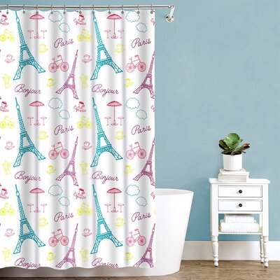 Paris France Polyester Shower Curtain