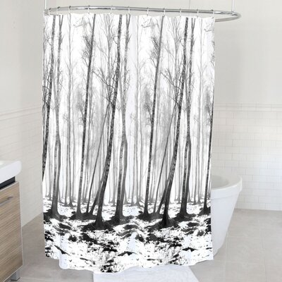 Fog and Snow Forest Polyester Shower Curtain