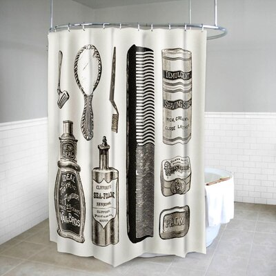 Vanity Vintage Bath Print Fabric Shower Curtain