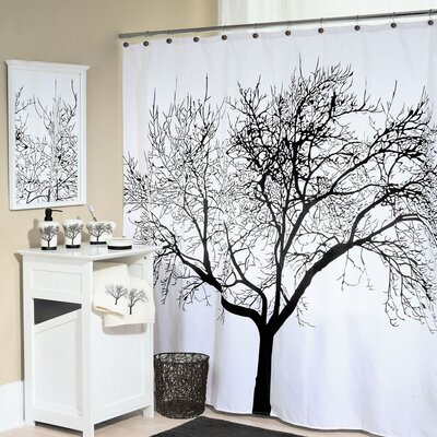 Tree Silhouette Polyester Shower Curtain Color: Black