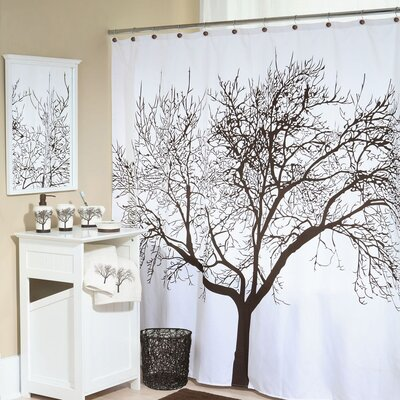 Tree Silhouette Polyester Shower Curtain Color: Brown