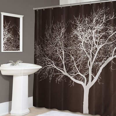 Tree Silhouette Polyester Shower Curtain Color: Chocolate