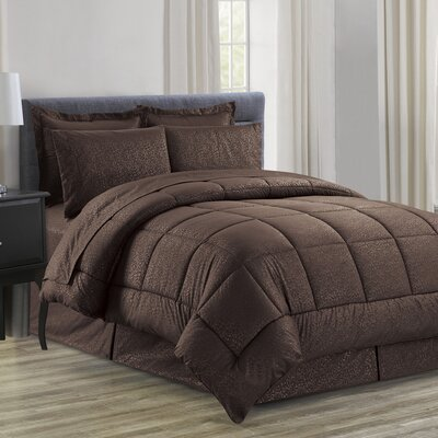 Chad Embossed Vine Down 8 Piece Bed in a Bag Set Size: Queen, Color: Chocolate