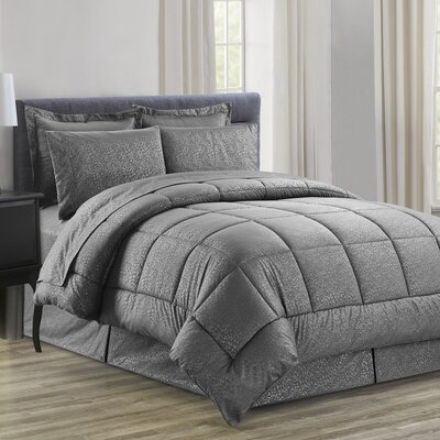 Chad Embossed Vine Down 8 Piece Bed in a Bag Set Size: Queen, Color: Gray