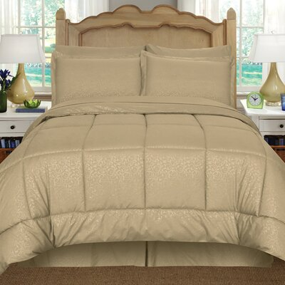 Chad Embossed Vine Down 8 Piece Bed in a Bag Set Size: King, Color: Mocha