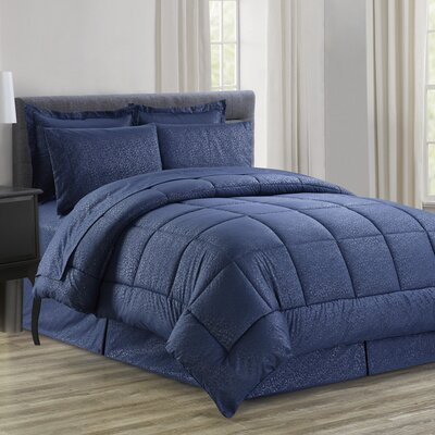 Chad Embossed Vine Down 8 Piece Bed in a Bag Set Size: Queen, Color: Navy