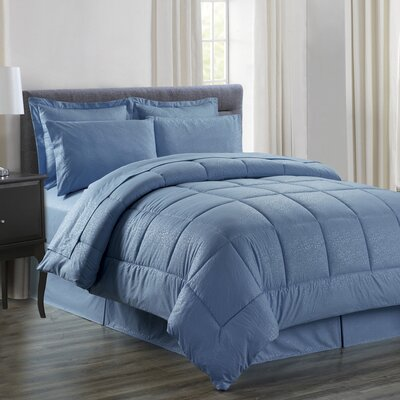 Chad Embossed Vine Down 8 Piece Bed in a Bag Set Size: King, Color: Slate Blue