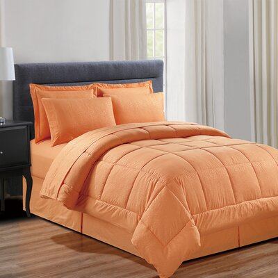 Chad Embossed Vine Down 8 Piece Bed in a Bag Set Size: Queen, Color: Orange