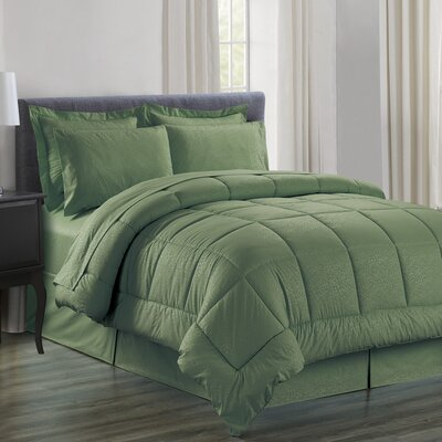 Chad Embossed Vine Down 8 Piece Bed in a Bag Set Size: Queen, Color: Sage