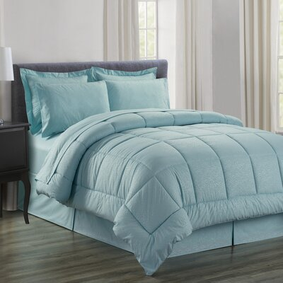 Chad Embossed Vine Down 8 Piece Bed in a Bag Set Size: Queen, Color: Turquoise