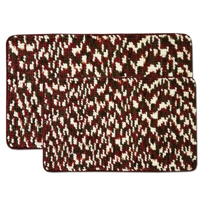 Valliere 2 Piece Bath Rug Set Color: Burgundy