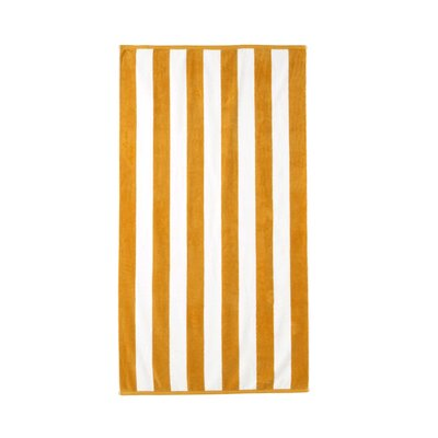 Akef Stripe Cotton Beach Towel Color: Mango