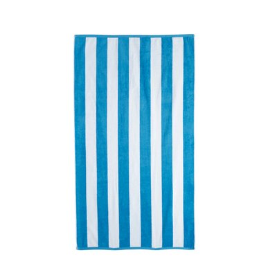 Akef Stripe Cotton Beach Towel Color: Teal