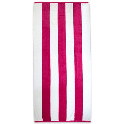 Ventana Stripe Cotton Terry Velour Beach Towel Color: Fuchsia ROHE3503 40794200