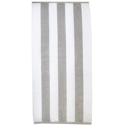 Ventana Stripe Cotton Terry Velour Beach Towel Color: Silver