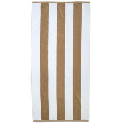 Ventana Stripe Cotton Terry Velour Beach Towel Color: Sand