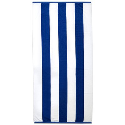 Ventana Stripe Cotton Terry Velour Beach Towel Color: Royal