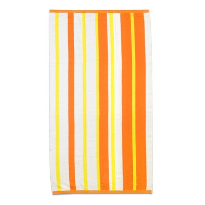 Sawyers Stripe 100% Ethiopian Cotton Beach Towel Color: Mango/Lemon