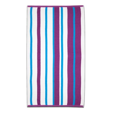 Gaurav Stripe Cabana Beach Cotton Towel Color: Magenta/Teal
