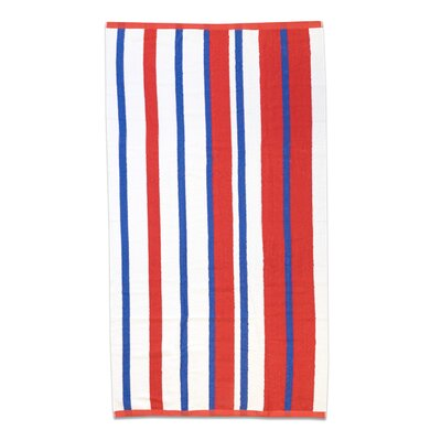 Sawyers Stripe 100% Ethiopian Cotton Beach Towel Color: Red/Royal