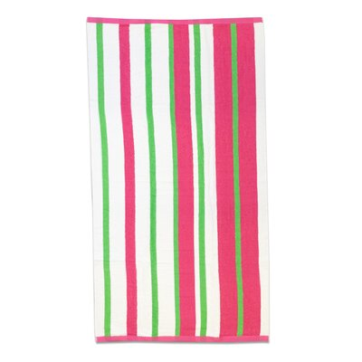 Gaurav Stripe Cabana Beach Cotton Towel Color: Fuchsia/Lime