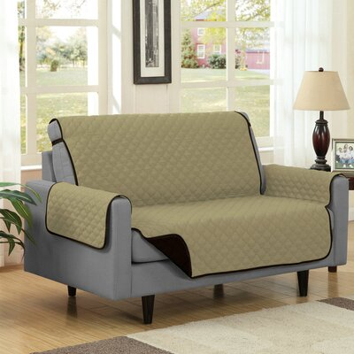 Box Cushion Loveseat Slipcover Upholstery: Camel/Brown