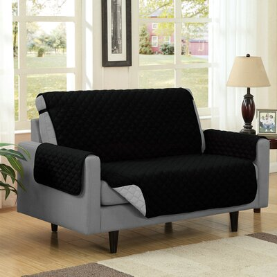Reversible Quilted Microfiber Protector Loveseat Slipcover Upholstery: Black/Gray