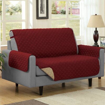 Reversible Quilted Microfiber Protector Loveseat Slipcover Upholstery: Burgundy/Camel