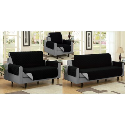 Reversible Quilted Microfiber 3 Piece Slipcover Set Upholstery: Black/Gray