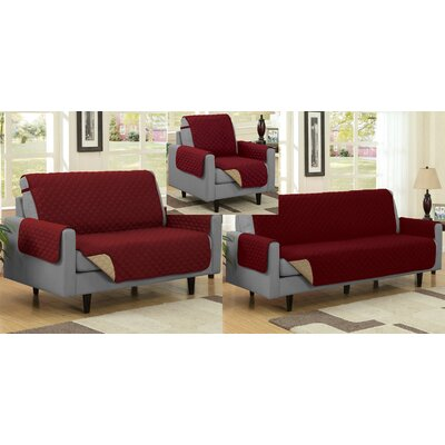 Reversible Box Cushion Slipcover Upholstery: Burgundy/Camel