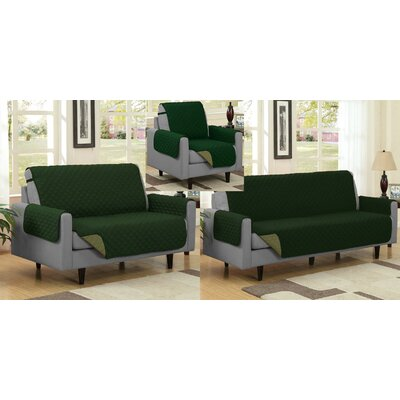 Reversible Quilted Microfiber 3 Piece Slipcover Set Upholstery: Sage/Hunter
