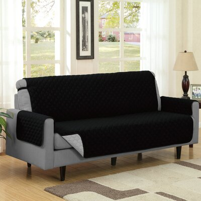 Reversible Quilted Box Cushion Sofa Slipcover Upholstery: Black/Gray