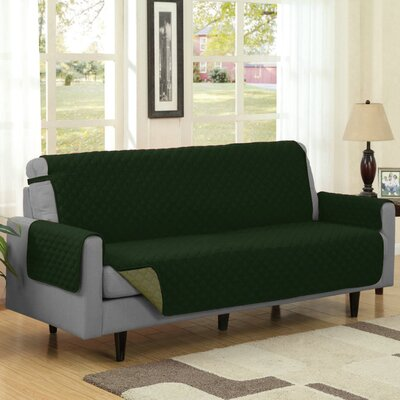Reversible Quilted Box Cushion Sofa Slipcover Upholstery: Sage/Hunter